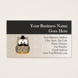 Owl with Mustache and Hat Business Card