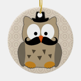 Owl with Mustache and Hat Christmas Ornament