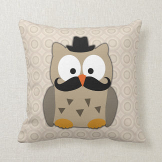 Owl with Mustache and Hat Cushion