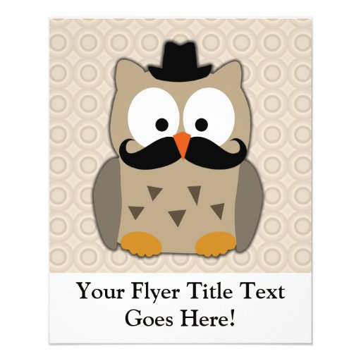 Owl with Mustache and Hat Flyers