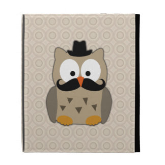 Owl with Mustache and Hat iPad Folio Cover