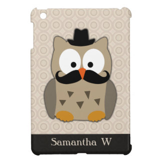 Owl with Mustache and Hat iPad Mini Cases