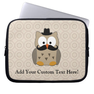 Owl with Mustache and Hat Laptop Sleeve