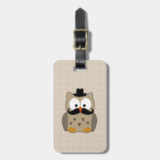Owl with Mustache and Hat Luggage Tag