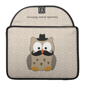 Owl with Mustache and Hat MacBook Pro Sleeve