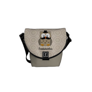 Owl with Mustache and Hat Courier Bag
