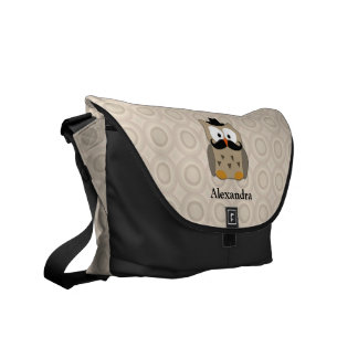 Owl with Mustache and Hat Messenger Bags