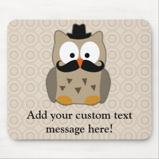 Owl with Mustache and Hat Mousepads