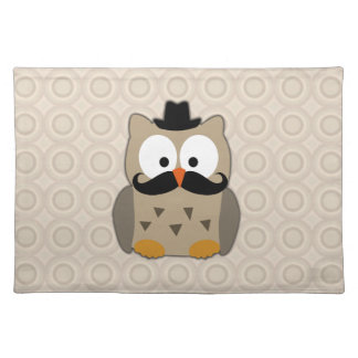Owl with Mustache and Hat Placemat