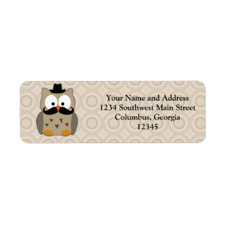 Owl with Mustache and Hat Return Address Label