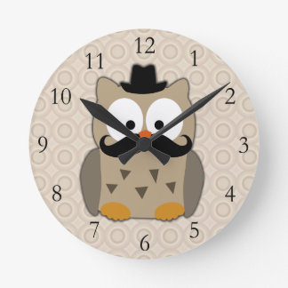 Owl with Mustache and Hat Round Clock