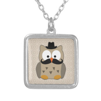 Owl with Mustache and Hat Silver Plated Necklace