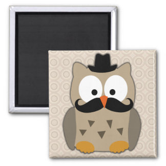 Owl with Mustache and Hat Square Magnet