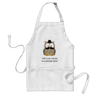 Owl with Mustache and Hat Standard Apron