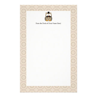 Owl with Mustache and Hat Stationery