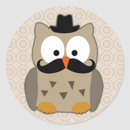 Owl with Mustache and Hat Sticker
