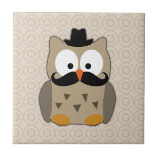 Owl with Mustache and Hat Tile