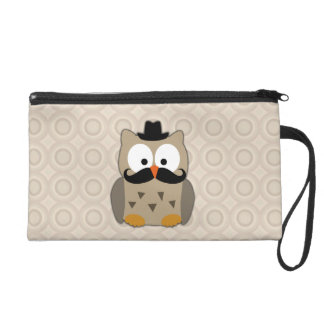 Owl with Mustache and Hat Wristlet Clutches