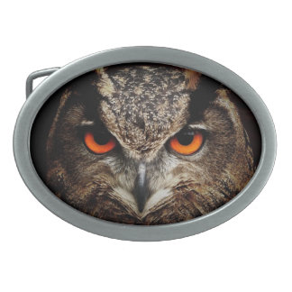 Owl with Orange Eyes Custom Belt Buckle