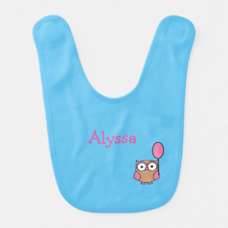 Owl with Pink Balloon and Name Bib