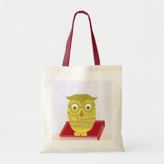 owl with red book tote bag