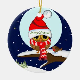 Owl with Santa hat & custom text Round Ceramic Decoration