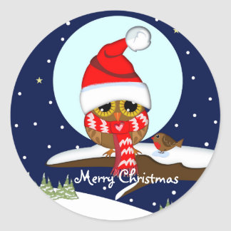 Owl with Santa hat & custom text stickers
