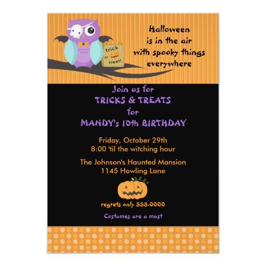 Owl with Skull Eyepatch Halloween Birthday Card