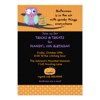 Owl with Skull Eyepatch Halloween Birthday Personalized Invitations