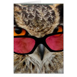 owl with spectacles funny hilarious greeting card