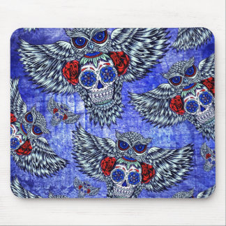Owl with sugar skull in red white and blue mousepads