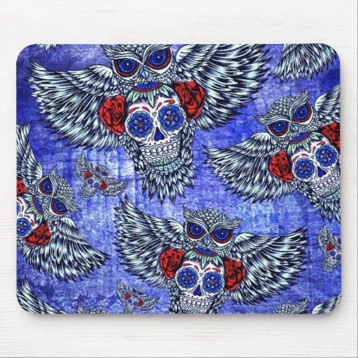 Owl with sugar skull in red white and blue. mousepads