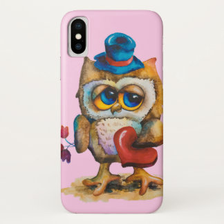 Owl with the heart Apple iPhone X Case Pink