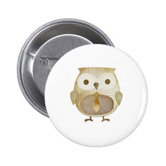Owl with Tie 6 Cm Round Badge
