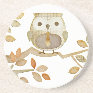 Owl with Tie in Tree Coaster
