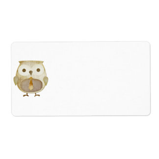Owl With Tie Label