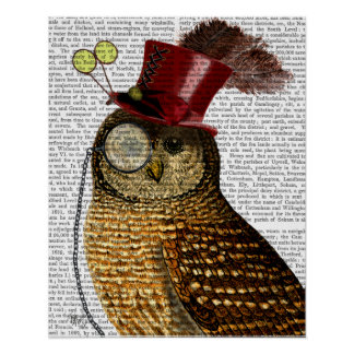Owl With Top Hat Poster
