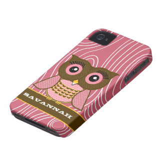 Owl Wood Grain Zig Zag Pattern Choose Your Color iPhone 4 Case-Mate Case