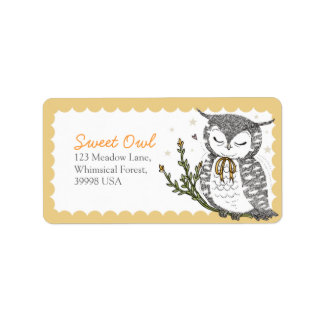 Owl & Yellow Bow Address Labels - Yellow