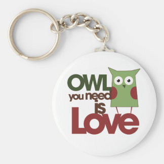 Owl you need is love basic round button key ring