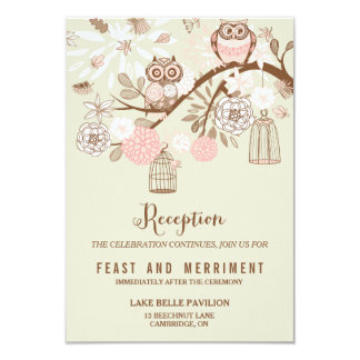 Owl You Need Is Love Pink Owls Reception Card 9 Cm X 13 Cm Invitation Card
