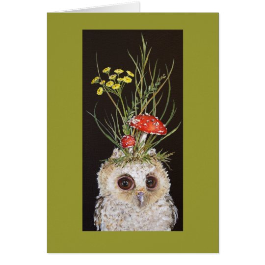 owlet card with toadstool hat