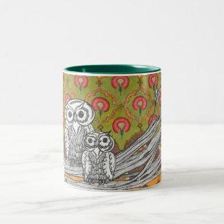 Owls 4 Two-Tone mug