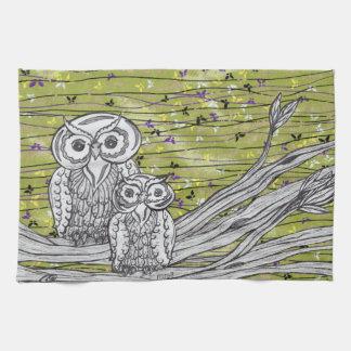 Owls and Butterflies 2 Kitchen Towel