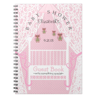 Owls and Lace Pink Baby Shower Guest Book- Notebook