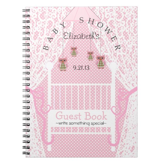 Owls and Lace Pink Baby Shower Guest Book-