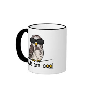 Owls are cool! ringer coffee mug
