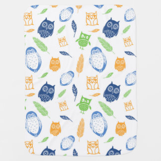 Owls Blue Orange Lime Feathers Baby Blanket
