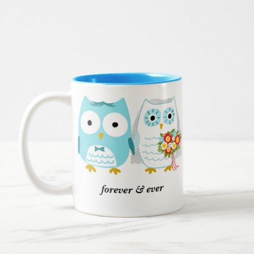 Owls Bride and Groom Forever & Ever - Custom Text Coffee Mugs