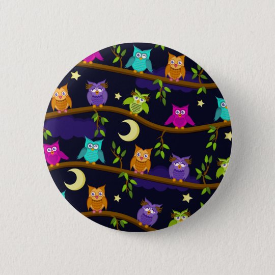 owls by night 6 cm round badge